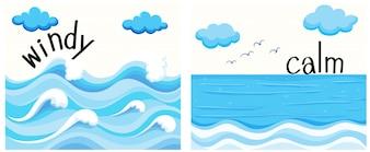Adjetivos opuestos con viento y calma