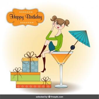 Adolescente en tarjeta de cumpleaños taza de cóctel