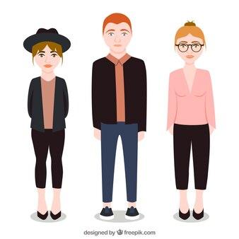 Adolescentes a la moda ilustrados