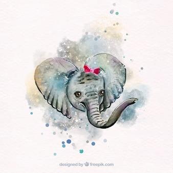 Adorable elefante de acuarela