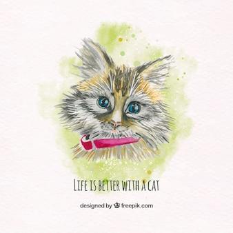 Adorable gatito de acuarela con bonito mensaje