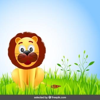 Adorable león de dibujos animados