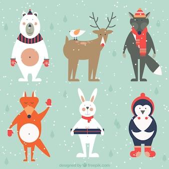 Adorable pack de animales vestidos de invierno