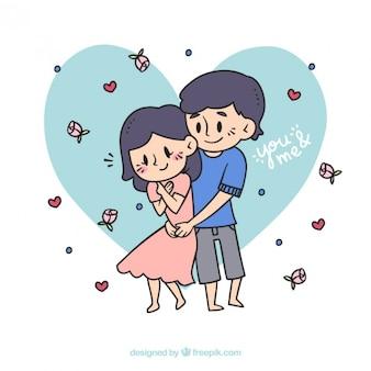 Adorable pareja dibujada a mano enamorada con flores