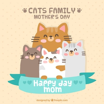 Adorable tarjeta de familia de gatos