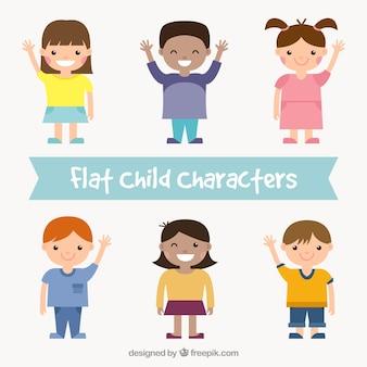 Adorables niños en diseño plano