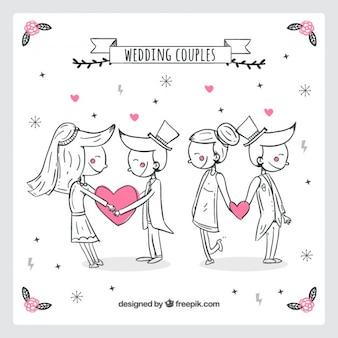 Adorables parejas de boda con corazones dibujados a mano