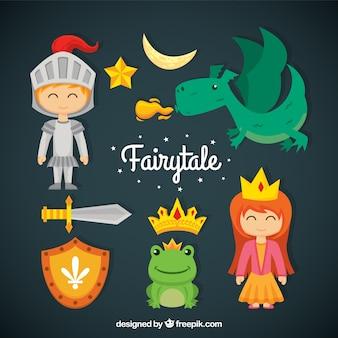 Adorables personajes de cuento con un dragon