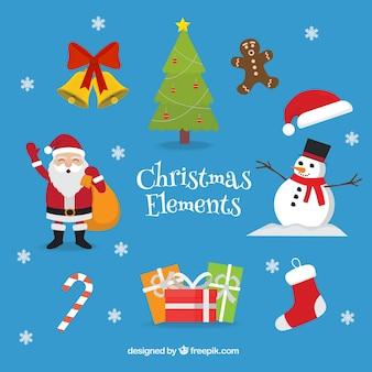 Adorables personajes y elementos de navidad
