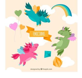 Adorables unicornios de colores volando