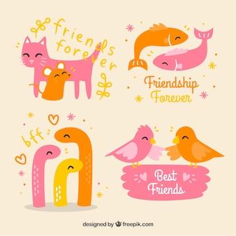 Adorebles animales amigos dibujados a mano