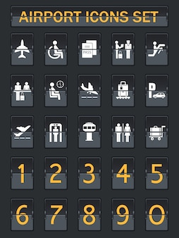 Aeropuerto, información, panel, iconos, Conjunto