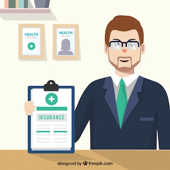 Agente de seguros en su oficina