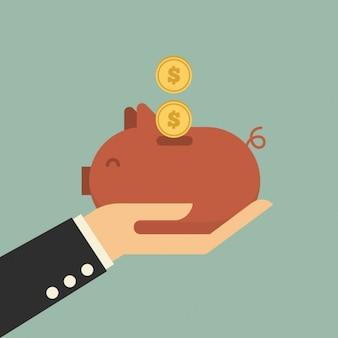 Ahorrando dinero en la hucha de cerdito