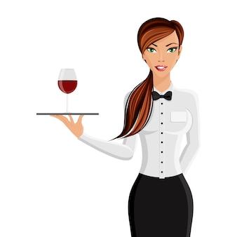 Alegre atractiva chica restaurante camarero con bandeja y vino de cristal retrato aislado sobre fondo blanco ilustración vectorial