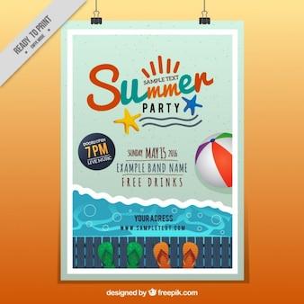 Alegre cartel de fiesta de verano