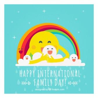 Alegre tarjeta del día de la familia con sol y arcoiris