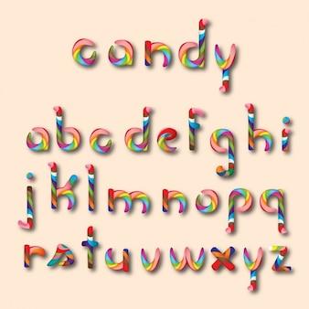 Alfabeto con forma de caramelo