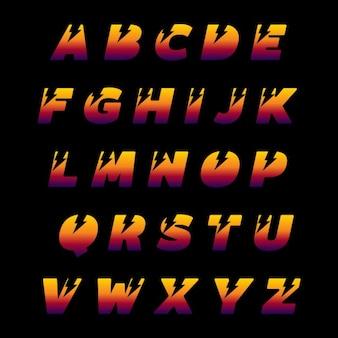 Alfabeto de letras mayúsculas con rayos