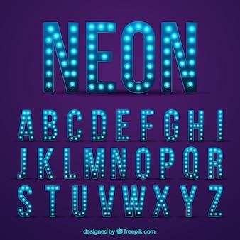 Alfabeto moderno de luces de neón