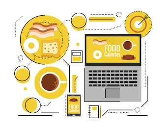Alimentación saludable, vitaminas, dieta, concepto de tecnología. Cuenta de calorías por dispositivo inteligente. elementos de diseño de líneas delgadas planas. ilustración vectorial