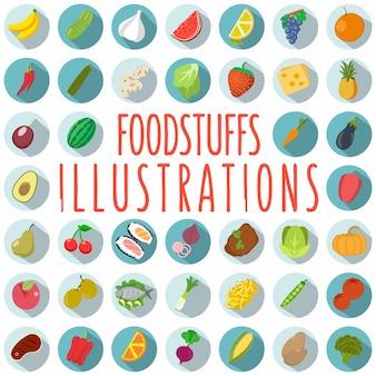 Alimentos ilustraciones - vector delicioso conjunto
