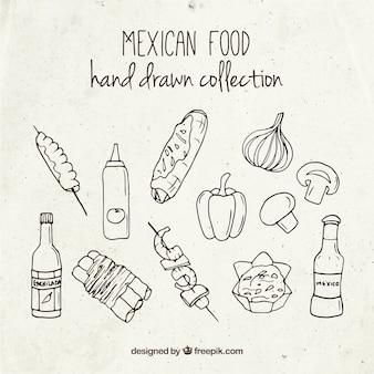 Alimentos mexicanos dibujados a mano