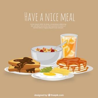 Almuerzo completo con comida deliciosa