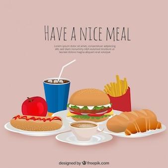 Almuerzo delicioso con variedad de comida