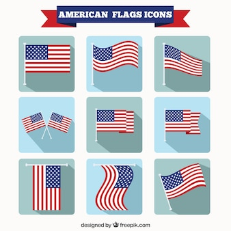 American Flags Icons Set