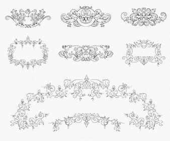 añada elementos de diseño floral conjunto de vectores