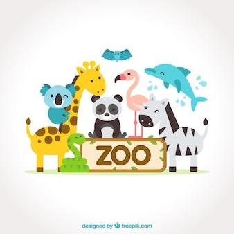 Aniamles simpáticos planos de zoo