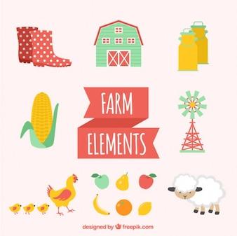 Animales bonitos de granja con elementos de agricultura