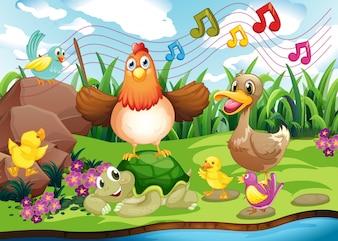 Animales cantando en la orilla del río