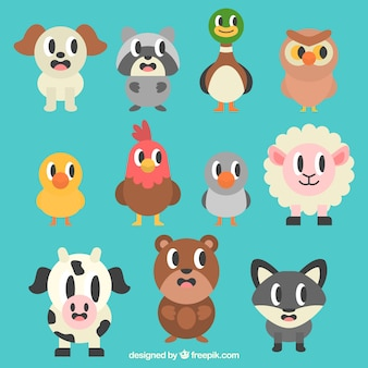 Animales de dibujos animados en diseño plano