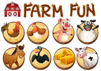 Animales de granja en botones redondos