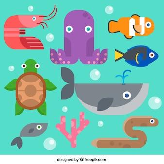Animales de mar en diseño plano