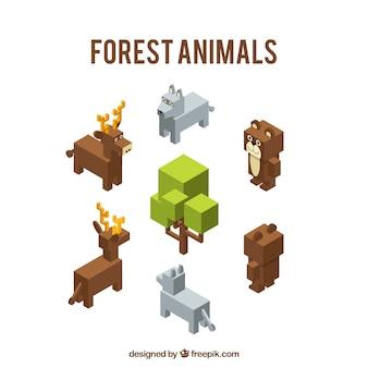 Animales del bosque isométricos