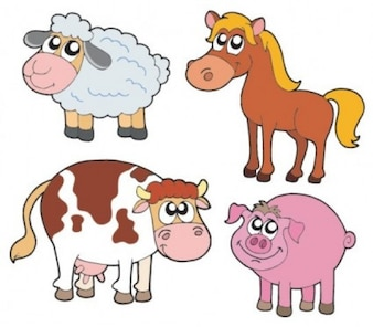 Animales lindos de la historieta zoo gráficos vectoriales