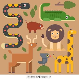 Animales lindos en diseño plano