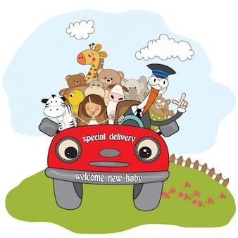 Animales viajando para la fiesta del bebé