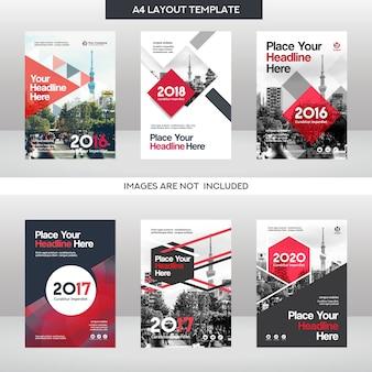 Antecedentes de la ciudad Plantilla de diseño de portada de libro de negocios conjunto