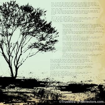 Antecedentes grunge árbol conjunto de vectores urbanos
