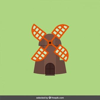Antiguo molino de viento en el diseño plano