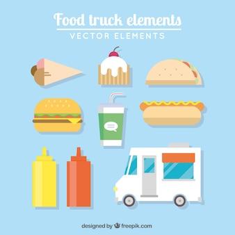 Apetitosos elementos de los camiones de comida