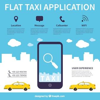 Aplicación para el servicio de taxis con estilo plano