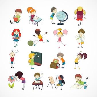 Aprendizaje de lectura decorativa cantando y jugando niños de escuela de fútbol con mochila doodle dibujo ilustración vectorial
