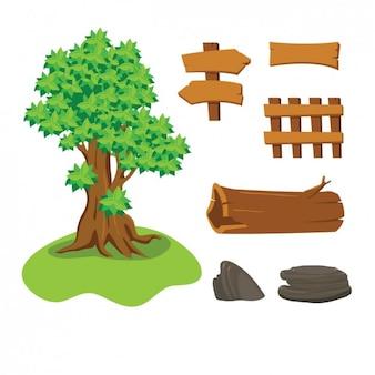 Árbol, piedras y señales de madera