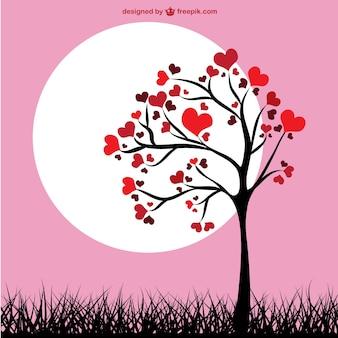 Árbol de corazones fondo rosa