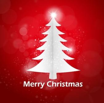 árbol de navidad blanco sobre fondo rojo